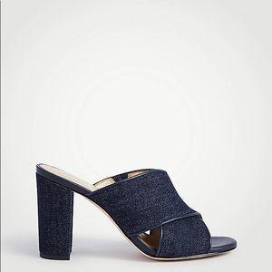 Ann Taylor Jeanette Denim Heeled Mule Sandals Sz 7